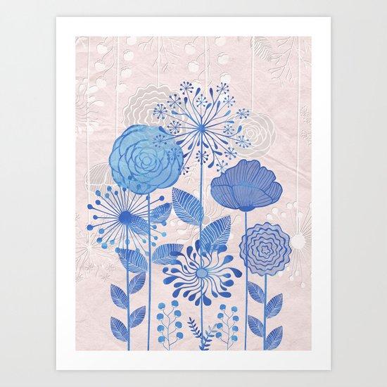 Light Blue Flowers Art Print