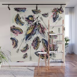 Be wild. Boho watercolor feathers. Fashion Wall Mural