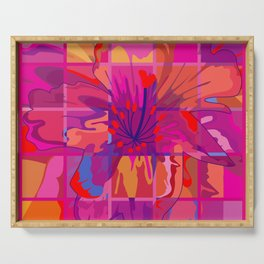 Abstract Flower in Cubes Serving Tray