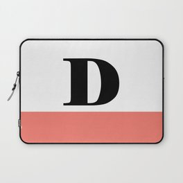 Monogram Letter D-Pantone-Peach Echo Laptop Sleeve