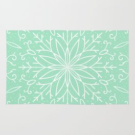 Single Snowflake - Mint Green Rug