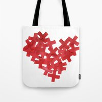 medicine Tote Bags featuring medicine heart by bugo