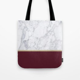 MARBLE GOLD WINE RED Tote Bag