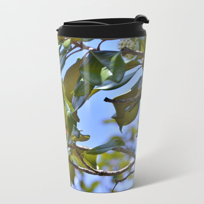 Magnolia Flower up in a Tree Metal Travel Mug