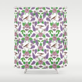 Lilacs, Peonies, Hellebore, & Sparrows - Pink & Purple Flowers w/ Birds & Moths Shower Curtain
