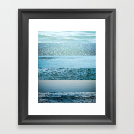 Water Study abstract blue waves Framed Art Print