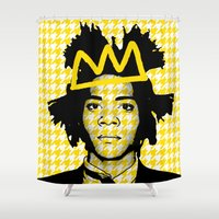basquiat Shower Curtains featuring BASQUIAT YELLOW by SebinLondon