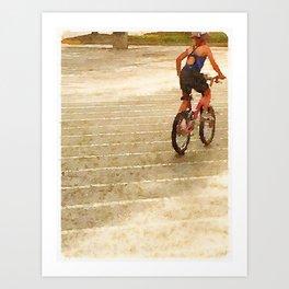 Girl's First Triathlon - Bike Art Print