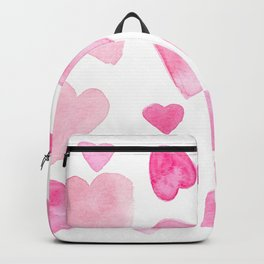 Pink Watercolor Hearts Backpack