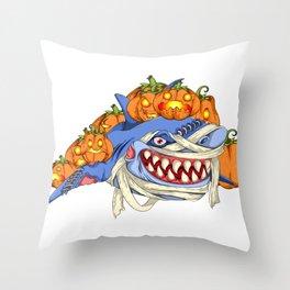 Halloween Pumpkin Shark Throw Pillow