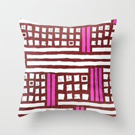Abstract modern geometrical pink burgundy pattern Throw Pillow