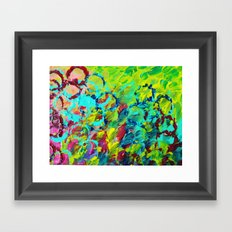 A LITTLE OF THIS - Bright Colorful Abstract Ocean Painting Circle Pattern Magenta Lime Fun Gift Framed Art Print