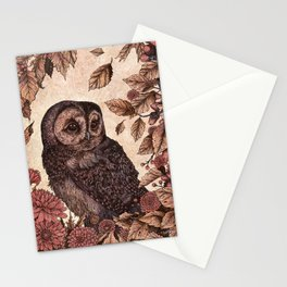 Tawny Owl Pink Stationery Cards