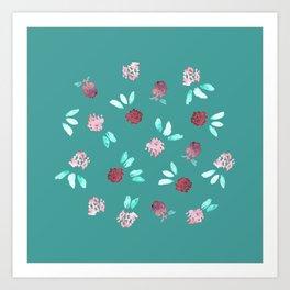 Clover Flowers on Mint Green Art Print