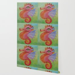 Baby Dragon Sea Horse Ice Cream color book illustration for kids Oil painting on canvas Pastel color Wallpaper