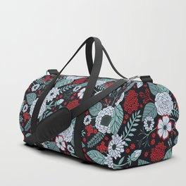 Red, Gray, Aqua & Navy Blue Floral/Botanical Pattern Duffle Bag