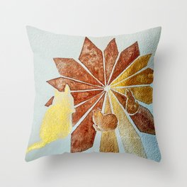 Tres Kitties SunGold n Bronze watercolour by CheyAnne Sexton Throw Pillow