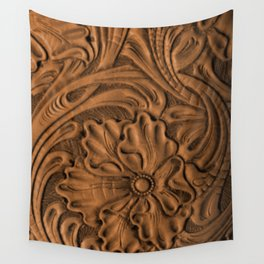 Golden Tanned Tooled Leather Wall Tapestry