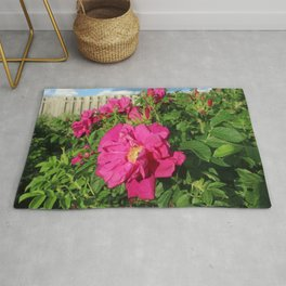 Dark Pink Rose Bush Rug