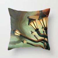 drunk Throw Pillows featuring Drunk Streetlamps by Remus Brailoiu