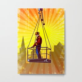 Construction Worker Platform Retro Poster Metal Print