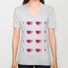 double heart Unisex V-Neck