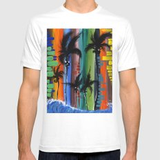 """COLOR IN PARADISE""  White MEDIUM Mens Fitted Tee"