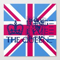 british flag Canvas Prints featuring British Flag in Pink by GraphicDivine
