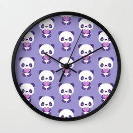 Cute purple baby pandas Wall Clock