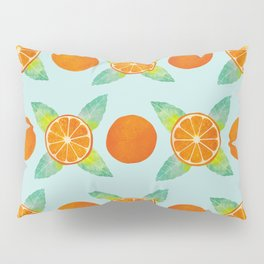 Watercolor Oranges Pattern in Blue Pillow Sham