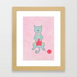 Knitting Kitty Framed Art Print