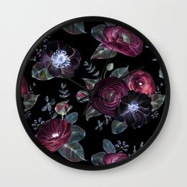 Fantasy Night Rose Red Wall Clock