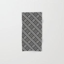Pantone Pewter, Black & White Diagonal Stripes Lattice Pattern Hand & Bath Towel