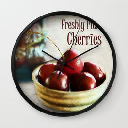 Freshly Picked Cherries Wall Clock