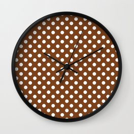 Chocolate Brown and White Polka Dot Pattern Wall Clock