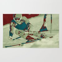 skiing Area & Throw Rugs featuring The descent (downhill skiing) by aapshop