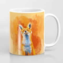 Happy Fox on an orange background Coffee Mug