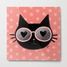 Black Cat With Sunnies Metal Print