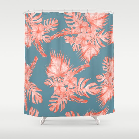 dreaming of hawaii pale coral on teal blue shower curtain