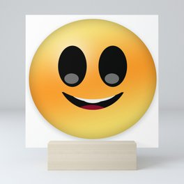 Laughing with closed open emoticon smiley yellow Mini Art Print