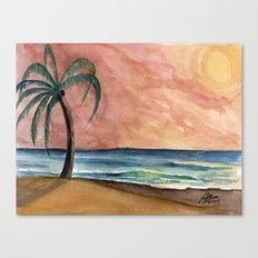The Waves At Sunset Canvas Print