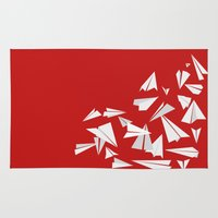 planes Area & Throw Rugs featuring Paper Planes by Becky Gibson