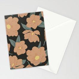Warm peachy magnolias pattern on dark  Stationery Cards
