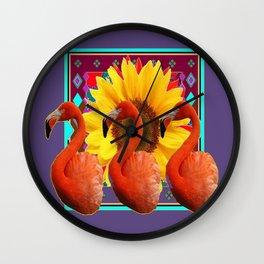 THREE SAFFRON FLAMINGOS YELLOW FLOWER PURPLE ART DECO Wall Clock