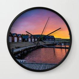 Sunset at Ejerslev Havn Wall Clock