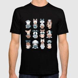 Doggie Coffee and Tea Time I // blue grey T-shirt
