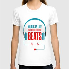 Lab No. 4 - Music Is Life.. That's Why Our Hearts Have Beats Motivational Quotes Poster T-shirt