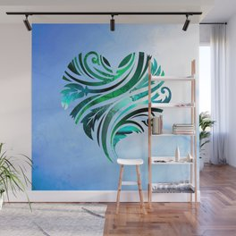 Cheerful Heart (blue-green) Wall Mural
