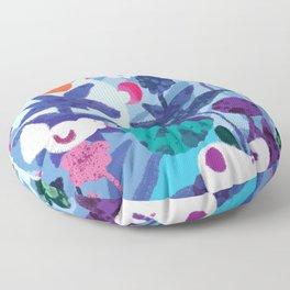 Bird and Dog in Blue Garden Floor Pillow