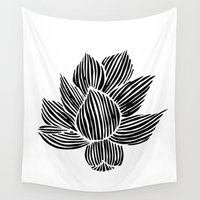 lotus flower Wall Tapestries featuring Lotus by MollySkipsey